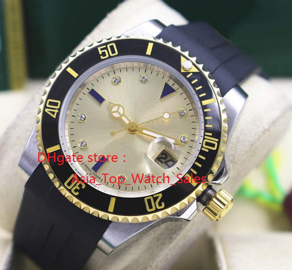 новый 116613 желтый бриллиантовый циферблат 2813 движение 40 мм черный керамический безель мужские часы новое прибытие