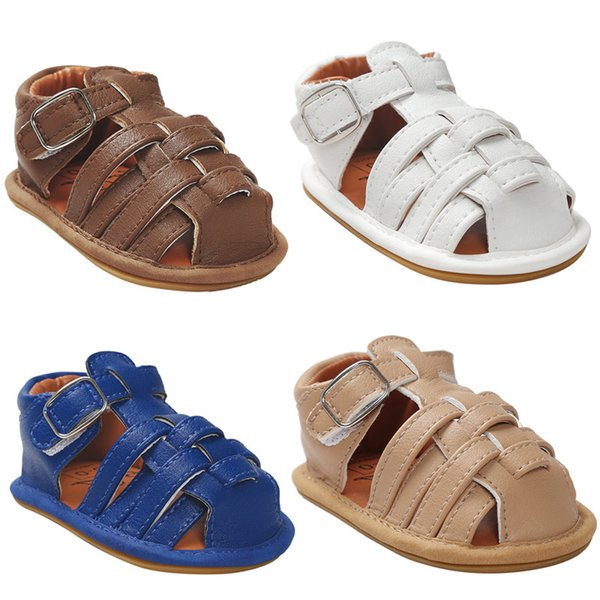 Baby Anti-skip pu weave Sandals boys girls pu moccasins summer first walkers Infants pre walker pure color pu soft sole shoes 5colors 3sizes