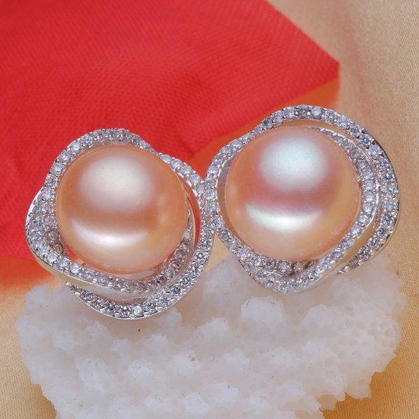 Plata 925 real natural grande [perla brillante] perlas naturales de agua dulce (dinero rico) 12 mm, pendientes de 13 mm, pendientes, auténticos nuevos s