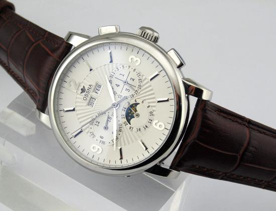 1609 Ossna 42mm Date&Day White Dial Silver Case Automatic Movement Men's Watch
