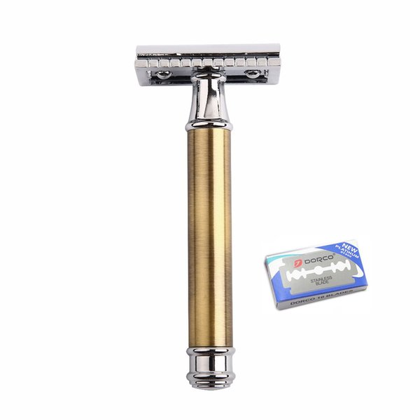 Brass Double Edge Razor Blade Replaceable Razors for Shaving Men Manual Shaver Blank Handle Classic Safety Razor