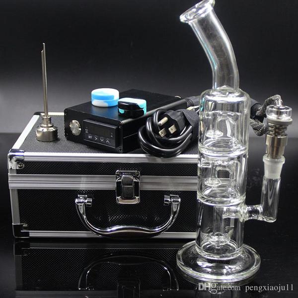 Juego de clavos D con 6 en 1 versión de titanio / clavo híbrido de cuarzo en forma de bobina plana de 10 mm / 16 mm / 20 mm con bongs de vidrio grueso