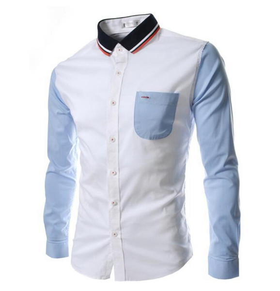 Wholesale- 2016 New Arrival Autumn Men Shirt Men's Cuff Long Sleeved Shirts Male Camisa Knitted Collar Shirts Slim Chemise Homme NCY00