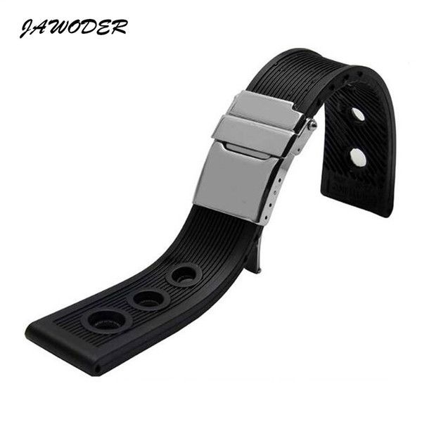 best selling JAWODER Watchband 22mm  24mm Black Waterproof Diving Silicone Rubber Watch Band Strap Silver Stainless Steel Clasp for B-R-E Watch