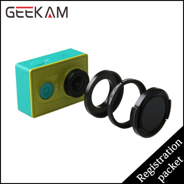 Wholesale-GEEKAM Camera UV Filter 37mm Black UV Protective Lens Glass Cover Lens Cap Case Filter Kit For Xiao Mi Yi Sports Action Camera