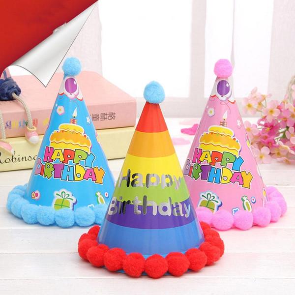 Venta al por mayor de Papel Corona - Bola de la nueva llegada Sombreros de cumpleaños Niños Fiesta festiva del partido Productos de papel Hairballs Rainbow Cap # 1859666