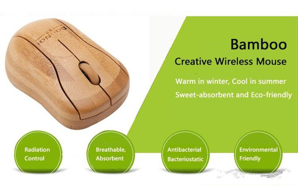 Großhandel Bambus 2,4G Wireless Mouse Natural Handmade Optische Holz Wireless Mäuse Holz Maus mit USB-Empfänger für Laptops / Desktop / Computer