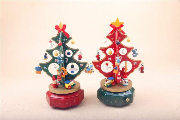 Christmas tree Christmas gift wooden music box music box wooden Christmas ornaments rotating decorations