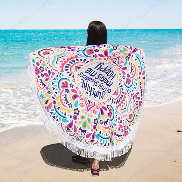 160cm Large Colorful Beach Towels With Tassel Bohemia Swimming Bath Towel Letter Print Picnic Serviette Indian Mandala Beach Throw Tapestry