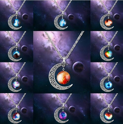 JLN Vintage Starry Moon Pendant Hollow Outer Space Universe Gem Necklaces Fashion Jewelry Moon Choker Gift For Woman