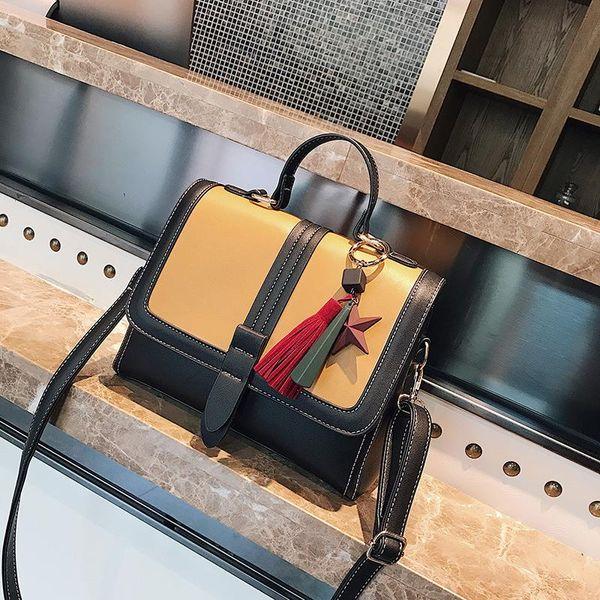 8df3c04d036a Brand Handbag Women PU Leather Bags Hit Color Fashion States Tassel Pendant  Shoulder Patchwork Messenger Bag Designer Handbags High Quality