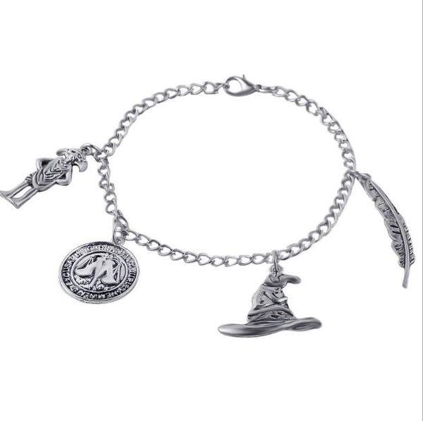 Film Bettelarmband Alte Silber Anhänger Armband Reden Hut Wingardium Leviosa Dobby Münze Charme Armreif Manschette für Frauen Schmuck Geschenk