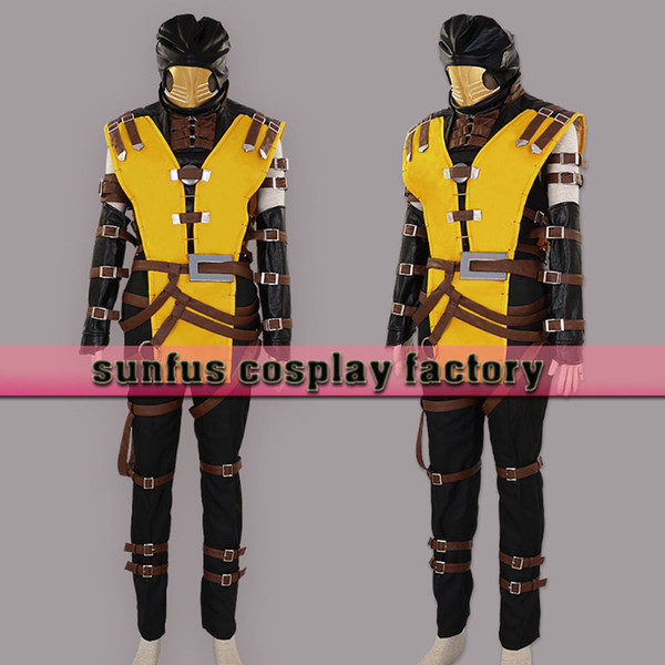 halloween mortal kombat scorpion hanzo hasashi mask cosplay costume game 3ds