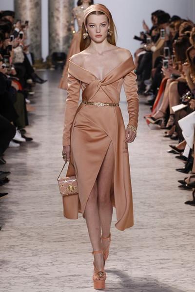 2017 Elie Saab Light Brown Short Prom Cocktail Dresses Modest Sexy Split Long Sleeve Knee-length Off-shoulder Occasion Evening Gowns
