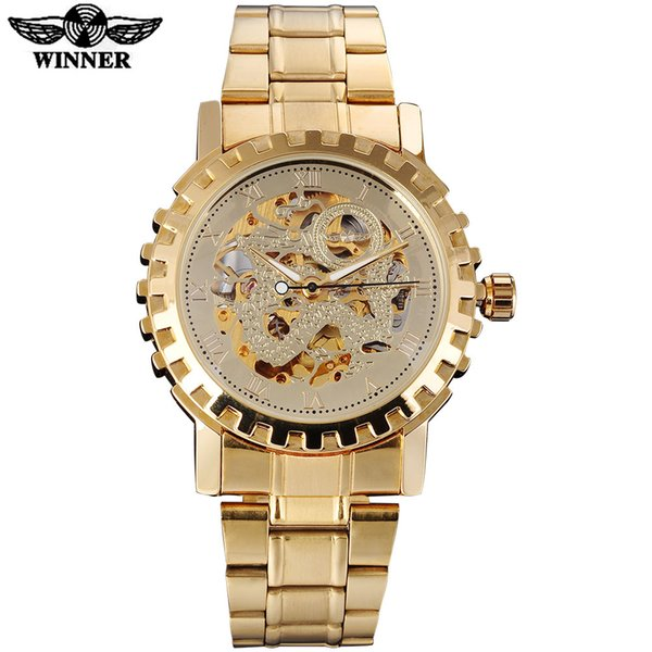 Wholesale- 2016 WINNER famous brand men mechanical automatic gold watches male skeleton steel fashion wrist watches dragon dial gear case