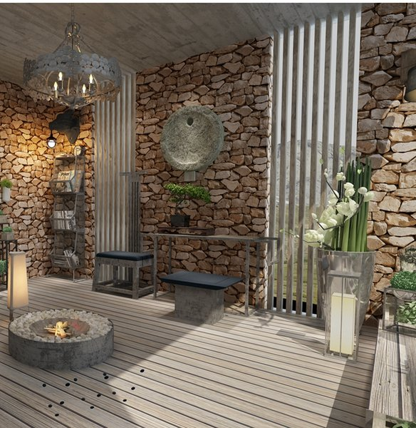 Retro Rock Imitation Stone Paper DIY 3D Wallpapers Vintage Rustic Vinyl Brown Slate Effect Brick Wall Paper Home Decor Wallpapers Mobile Hd Wallpapers
