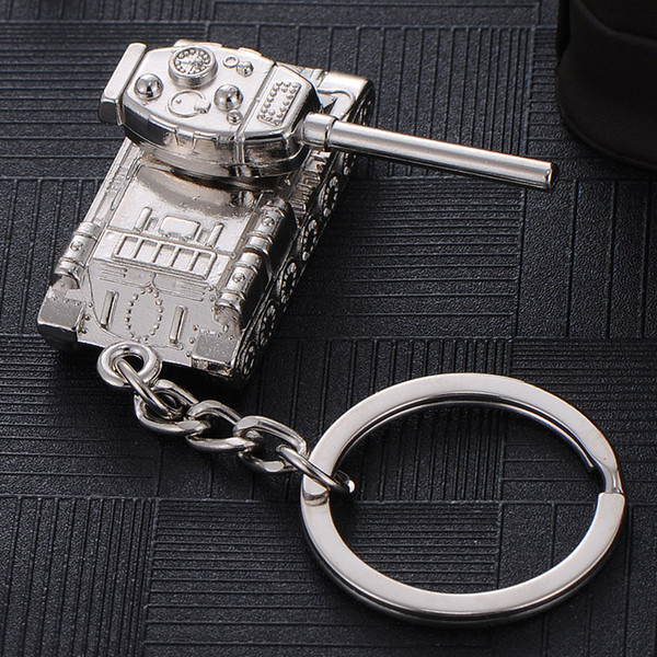 2017 Cool Design Metal Cut out men women keychain bag pendant tank Design Car key chain ring holder Jewelry Gift for man