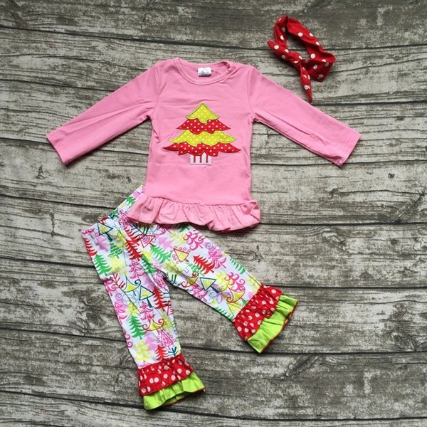 Wholesale- new design Christmas kids clothing winter clothes hot sell Christmas tree embroider pink top ruffle pant with matching headband