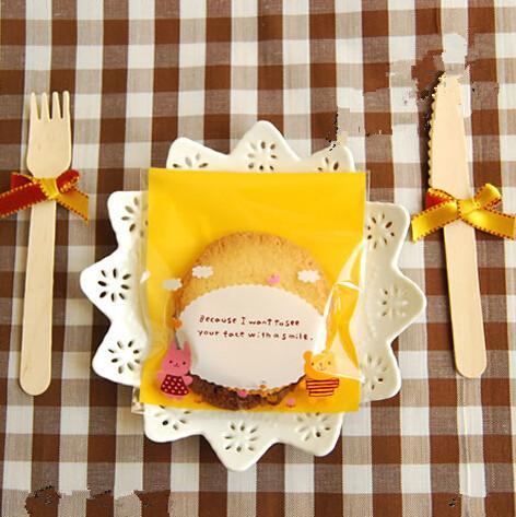 Pink Yellow Bears Cookie Bags Plastic Bga Gift Packaging Favors Self Adhesive Bags