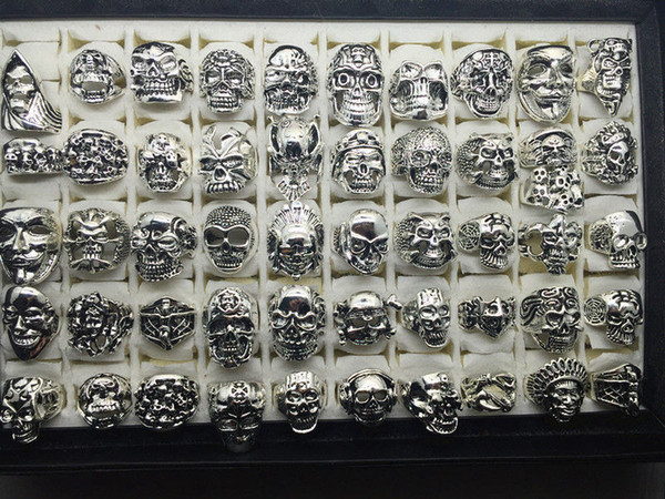 best selling Top Vintage Gothic Punk Assorted Skull Style Sports Bikers Silver Jewelry Ring (Size 8 to 12)