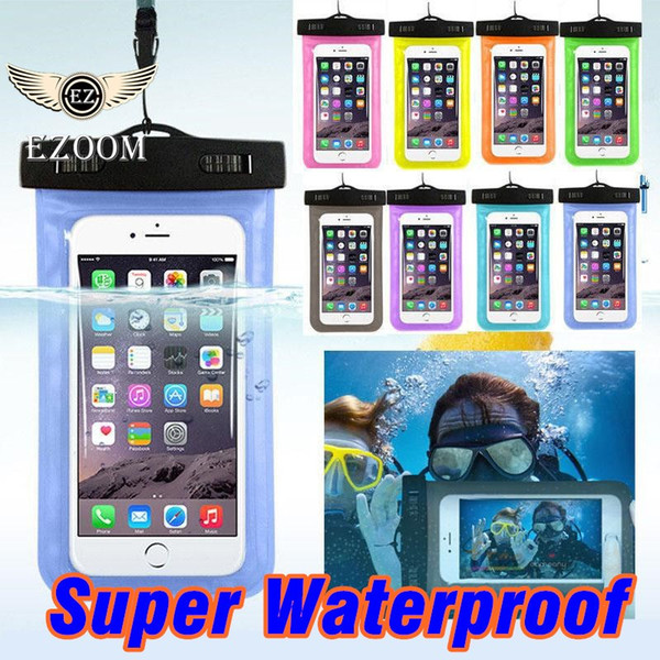 Universal For iphone x 8plus 7 Samsung note 8 s8 Waterproof Case Bag Cell Phone Water Proof Dry Bag For Smart Phone Up To 5.8 Inch Diagonal