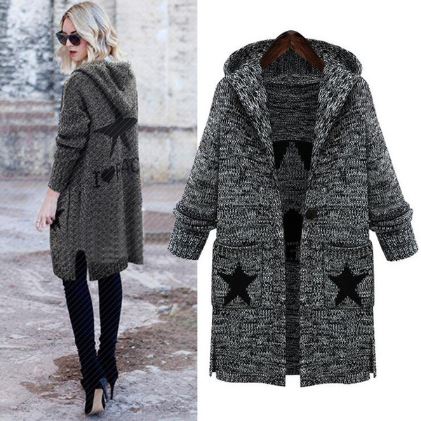 Wholesale- Big Size Cardigan 2016 Autumn Winter Pockets Stars Print Casual Knitted Long Sweater Coat Gray L-5XL Plus Size Women Clothing