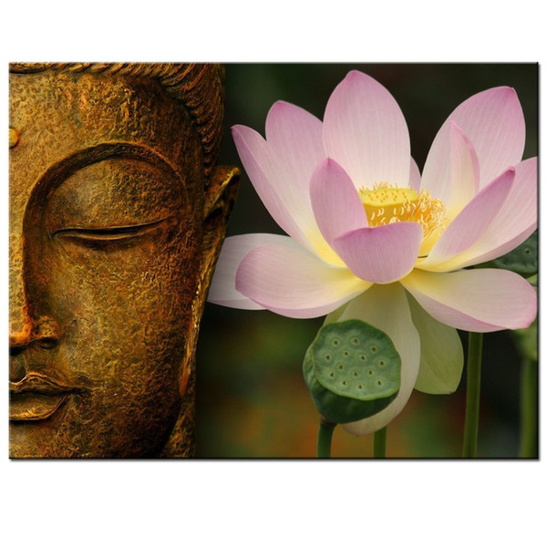 Buddha Canvas Wall Art,Large Size Zen Lotus Flower Canvas Print with Frame,Modern Peaceful Home Decoration Artwork