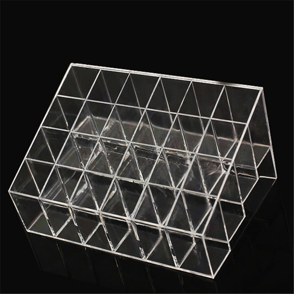 Wholesale-24 Grids Trapezoid Makeup Display Stand Lipstick Case Cosmetic Organizer Holder Transparent Shelf free shipping