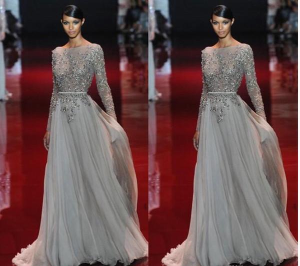 Appliques 2017 Evening Dress Beaded Valentino Elie Saab Sash Sweep ...