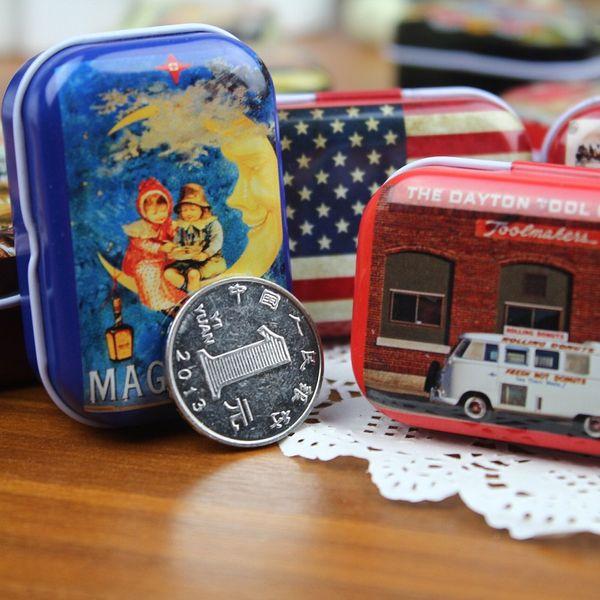 Zakka Storage Boxes Retro Mini Jewelry Pill Candy Organizer Favor Tin Box Metal Rectangle Collectables Tin Boxes wa3212