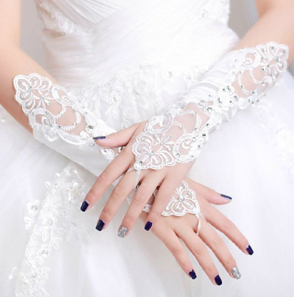 Guanti da cerimonia nuziale da sposa in pizzo avorio lunghi e senza dita