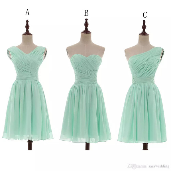 top popular Chiffon Ball Gown Sweetheart Pleated Short Bridesmaid Dresses Mint 2020 Country Bridesmaid Gowns For Wedding Sukienka Wesele 100% Real Photo 2021