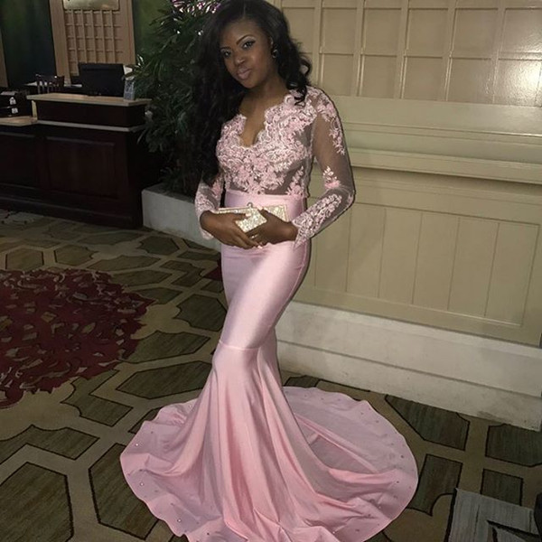 Modest Pink Long Sleeve African Prom Dresses Mermaid Appliques Sheer Illusion Bodice Cheap Prom Party Dress Black Girl Formal Evening Gowns