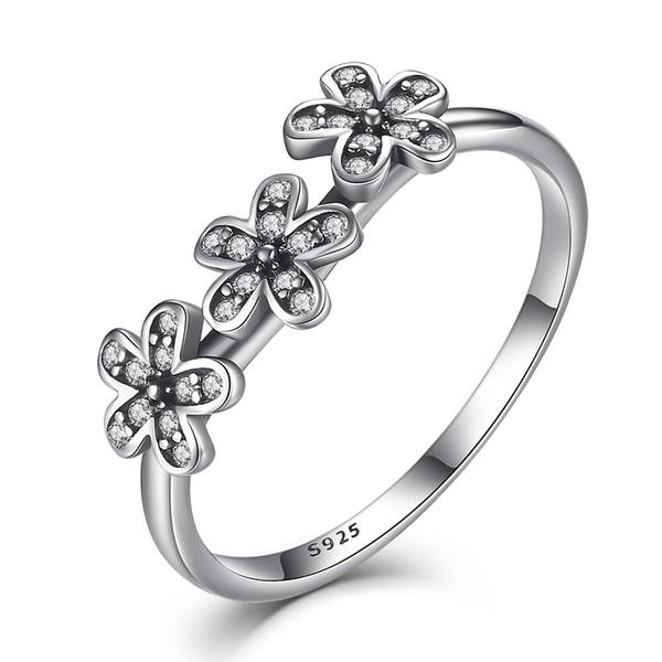 BELAWANG 925 anillos de dedo de margarita de plata esterlina Clear CZ europeos encantos anillos para mujeres joyería de la boda regalo del día de la madre el envío gratuito