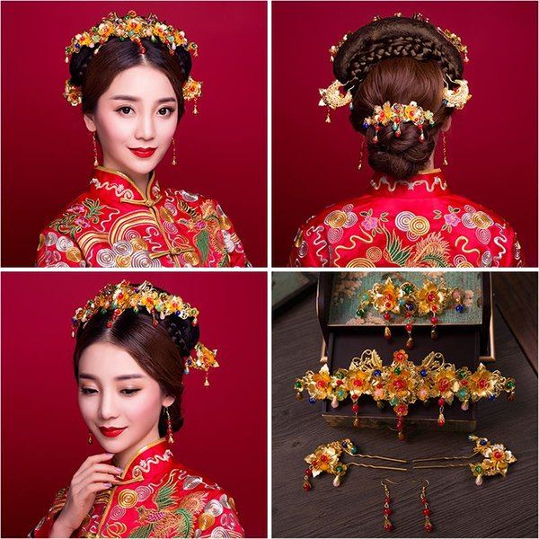 Woman headdress hair The golden hair coronet of Solomon Bride Costume Suit Chinese wedding headdress hairpin accessories 6210788