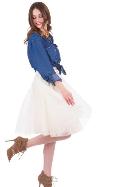 best selling Ivory Tulle Midi Skirts For Women Knee Length Satin High Waist Tutu Skirts Fashion Short Party Skirts