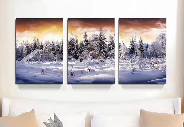 3 Panels Forest Winter White Snow Landscape Canvas Painting Home