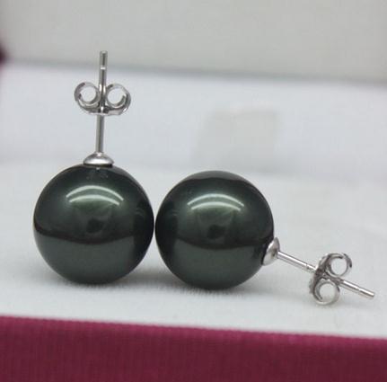Boucles d'oreille de perles ZFE-202 de luxe de la mer du Sud de 12 mm de la mer du Sud avec un cercle noir parfait