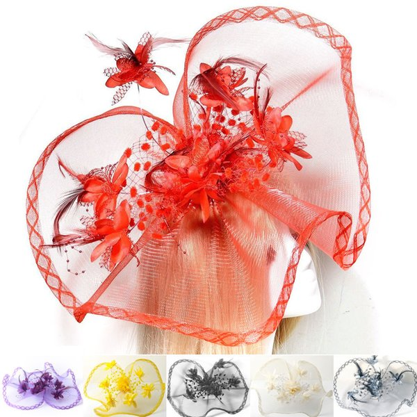 6 Colors Handmade Feather Flower Large Fascinator Wedding Party Bride Bridal Woman Girls Netting Hair Accessories Headwear Hat Free Shipping