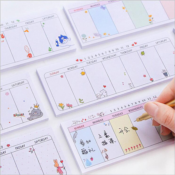 best selling Wholesale- Cartoon Cute Weekly Plan Self-Adhesive Memo Pads Office School Note Planner Supply Kawaii Daily Plan Sticky Notes Paper Memo Pad