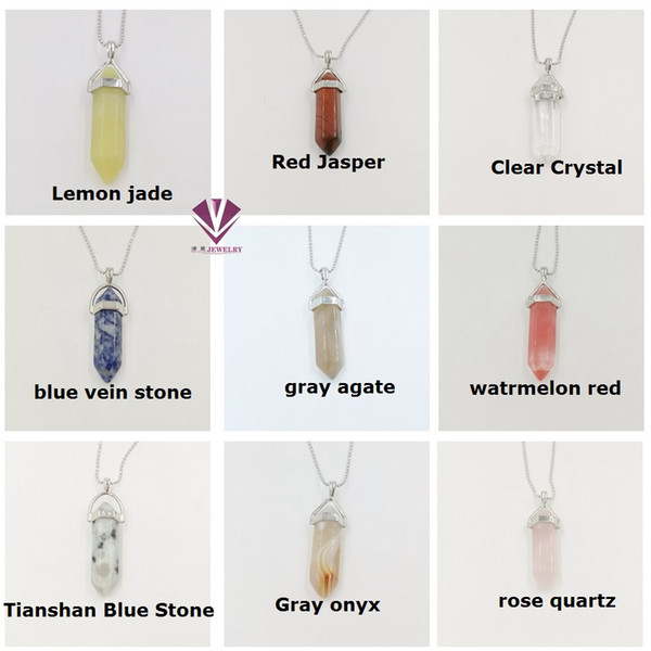 best selling Necklace Jewelry Cheap Healing Crystals Amethyst Rose Quartz Bead Chakra Healing Point Women Men Natural Stone Pendants free shipping