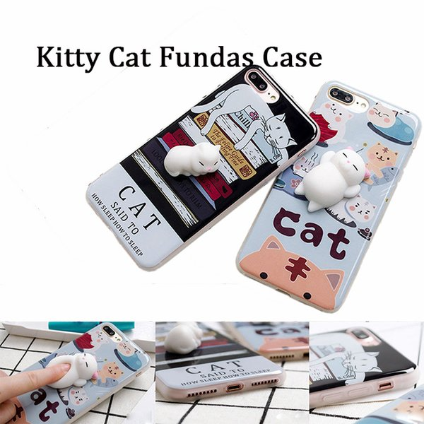 2017 Soft Silicone 3D Squishy Kitty Cat Fundas phone Case back cover For iPhone6 6S 7 8 Plus for relieve the pressure samsung note 8 S8