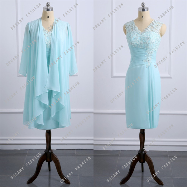 Mint Green Chiffon Knee Length Mother Of The Bride Dresses With Jacket  Appliques Lace Plus Size Formal Evening Gowns Wedding Guest Dress Mother Of  The ...