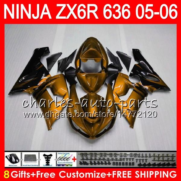 8Geschenke 23Colors Kit Für KAWASAKI NINJA ZX636 ZX6R 05 06 600CC Gold Flammen 27NO98 ZX-636 ZX-6R 05-06 ZX 636 ZX 6R 2005 2006 Verkleidung Karosserie