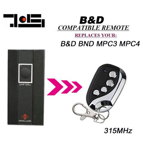 For 315MHZ BND MPC3 MPC4 replacement remote B&D garage door remote transmitter