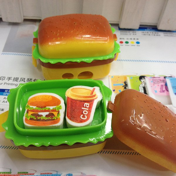 Wholesale- apontador de lapis kawaii pencil sharpener papeleria apontador school hamburger material escolar lapiseira stationary knife