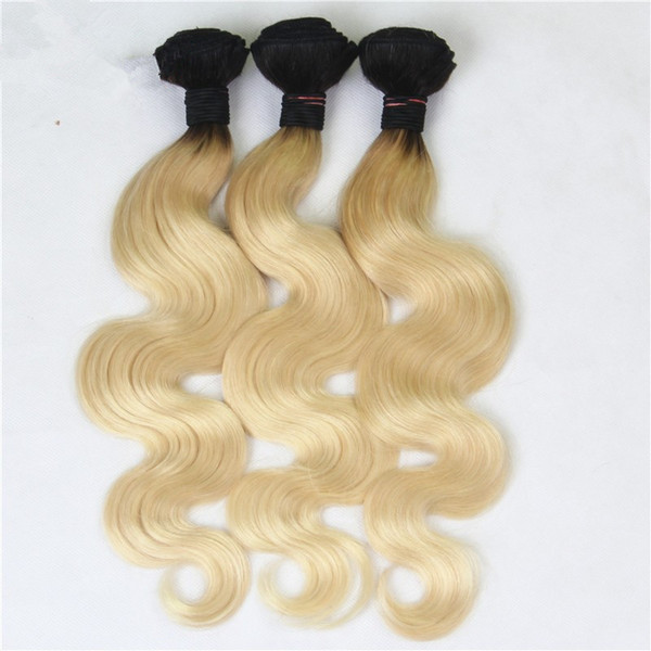8A Grade Ombre 1B 613 Dark Roots Blonde Russian Hair Body Wave Human Hair Weave Bundles Platinum Blonde Hair Extensions