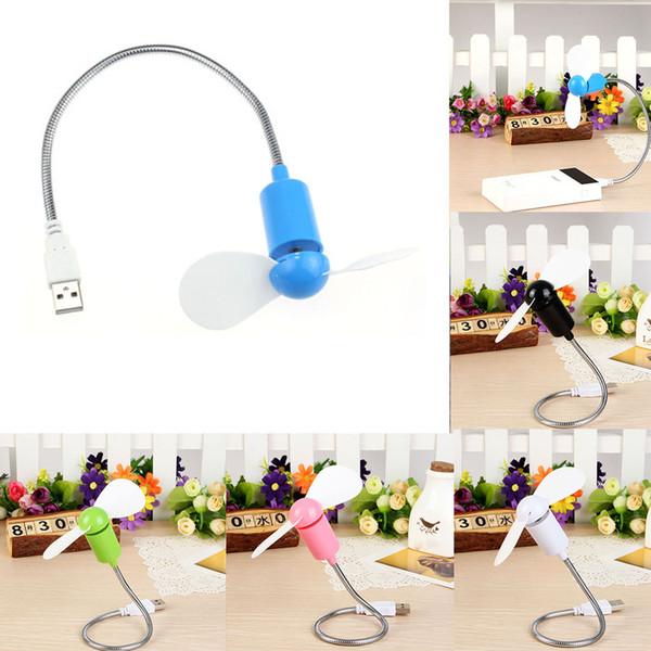 Wholesale- Flexible USB Mini Cooling Fan Cooler For Power Bank Laptop Desktop PC Computer