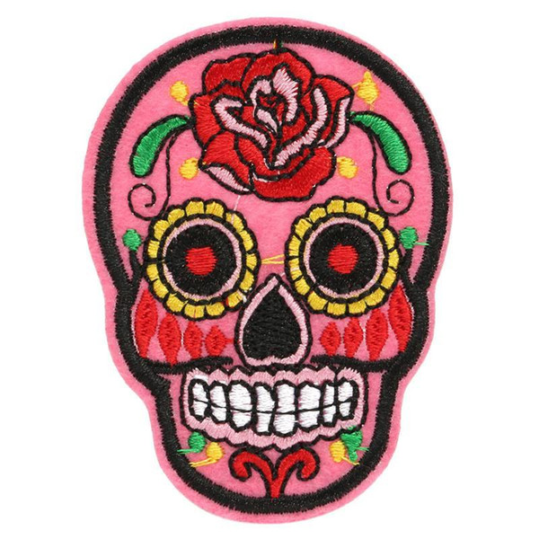 20 pcs Patch DIY Flowered Skull Embroidered Patches Fabric Badges Iron-On Sewing For Bags Patches Clothes Hat Decorative Ornament