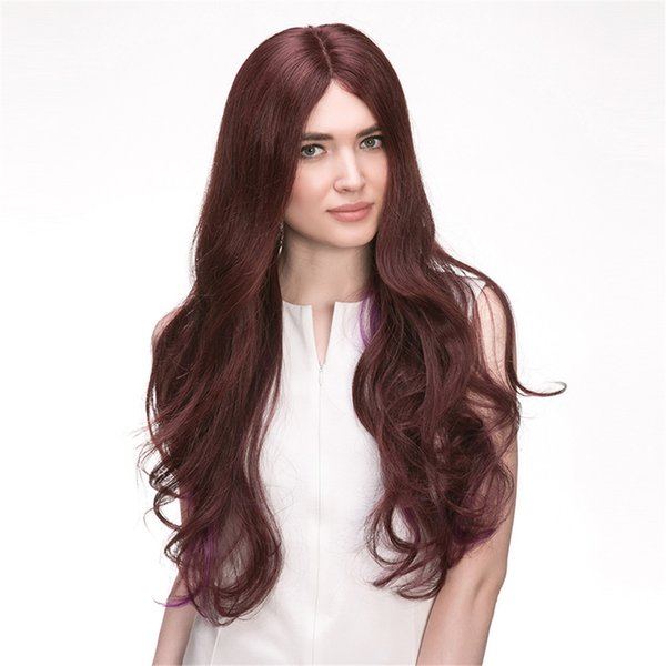 Full Lace Human Hair Wig Senior silk wig Long Wavy Full Lace Wigs Brazilian Virgin Hair 100% With Bangs For women Color M4/33 # kabell WIGS